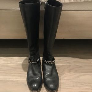 Black Leather COACH Riding Boots Silver Chain 7.5